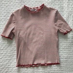 Striped Zara Crop Top with Lettuce Edge